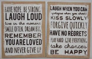Hessian Laugh Remember Forgive Happy Slogan Wall Plaque Quote Sign Wall Display